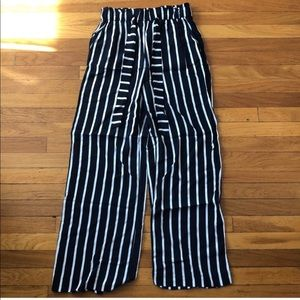 H&M navy and white stripe wide leg pants